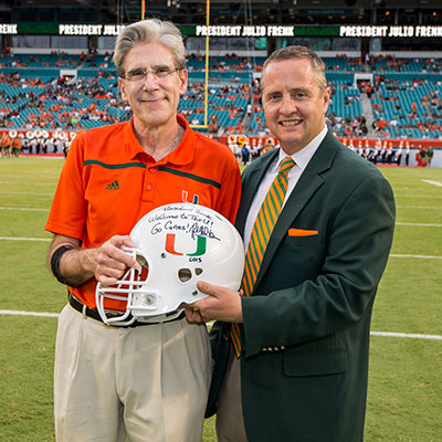 President Julio Frenk with UM Athletic Director Blake James
